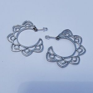 Jewelry - Silver Lotus Flower Mandala Hoop Earrings